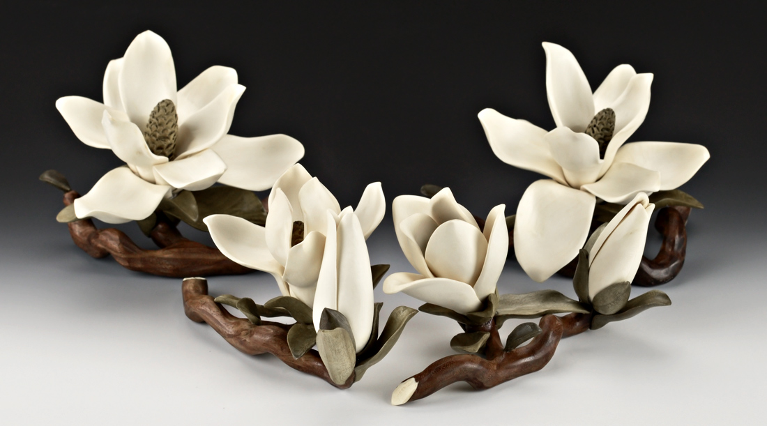 Flowers and leaves carved in wood nature carvings